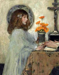 Kitty in Profile With A Vase Of Ranunculus James Jebusa Shannon