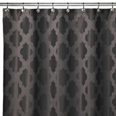 Perfect for a black and white bathroom!  Tangiers 72-Inch x 72-Inch Shower Curtains in Grey - BedBathandBeyond.com