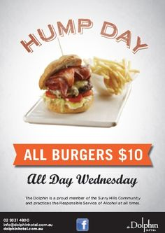 $10 / Eat / Surry Hills / Dolphin Hotel / www.lanternhotels.com.au/dolphin-hotel  $10 burgers all day Wednesdays.