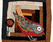 Unframed applique with embroidery on to vintage log cabin fragment Chicken Quilt, Bird Applique, Bird Quilt, American Quilt, Log Cabin Quilts, Bird Artwork, Old Quilts, Textiles, Leaf Flowers