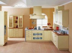 Kitchen, The Great Design Of Kitchen Painting Ideas With Gray Ceramic Floor  Also The White Roof With Brown Wall With White Cream Wall Shelving And  White ...