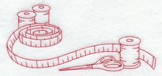 Machine Embroidery Designs at Embroidery Library! - Sewing Notions Border (Redwork)