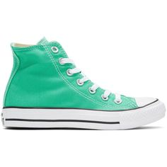 Converse Green Classic Chuck Taylor All Star OX High-Top Sneakers (220 RON) ❤ liked on Polyvore featuring shoes, sneakers, green, converse sneakers, green shoes, high top shoes, rubber shoes and green sneakers