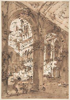 Francesco Guardi | Architectural Capriccio: Courtyard of a Palace | The Met