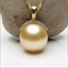 10.65mm South Sea Pearl VS-SI Diamonds Real 14k Yellow by TheLOGR