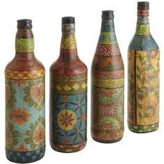 Pier One Painted Bottles ($20) ❤ liked on Polyvore