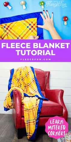 I love this quick tutorial on how to deal with satin binding. Fleece Tie Blankets, Fleece Throw, Sewing Crafts, Sewing Projects, One Step Beyond, Sewing Essentials, Mitered Corners, Fleece Fabric, Baby Items