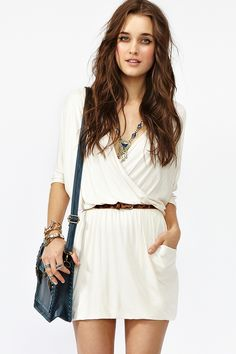 Draped Across Dress - Cream,      Want.