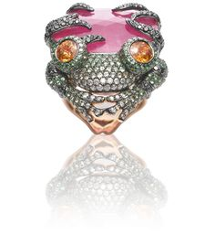 Bejeweled Frog  18 Karat Rose Gold Ring w/ White Diamond, Black Diamond, Tsavorite, Ruby, Spessartite Garnet  www.wendyyue.com/