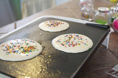 birthday pancakes with sprinkles!!!!! Great idea. The Biggest of the Small Ones LOVES a pancake breakfast on his birthday. Be good Christmas Pancakes too. HAPPY BIRTHDAY JESUS!!