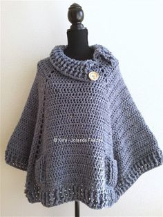 Xyra PATR0966-crochet pattern-square poncho with by XyraCreaties