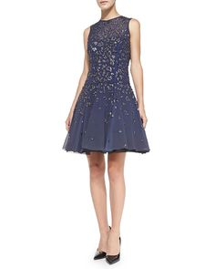 Rebecca Taylor Beaded Fit-and-Flare Cocktail Dress