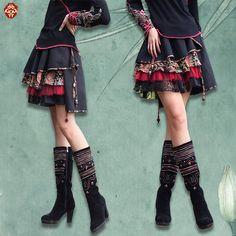 Комбинированная асимметричная юбка с разноцветными оборками