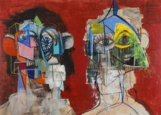 <b>George Condo</b> <i>Double Heads on Red</i>, 2014 Acrylic, charcoal, pastel on linen 78 x 110 inches (198.1 x 279.4 cm.)