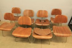 Item # 3 -- Eight Herman Miller Eames style bent wood side chairs with metal frame, Pickup only.