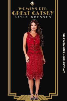 Stunning Red 1920s Ladies Dresses perfect for a1920s party or formal Events. You will love all our styles - Click Here to see them all! Red Flapper Dress, 1920s Dress, Great Gatsby Dresses, Great Gatsby Fashion, Ladies Dresses, Formal Dresses, Gatsby Style, Costume Dress, Lady In Red