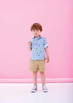 Cute kids and even cuter printed button up shirts. | Via www.milkmagazine.fr