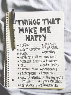 List the things that make me happy, can add pictures and embellishments, minus the coffee and tattoo part. More