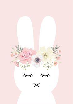38cedd171efe Flower Bunny Print Cadre Enfant, Affiche Enfant, Lapin Mignon, Petit Lapin,  Fleurs