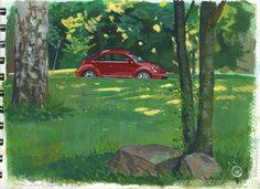 Plein air, Topeliuksen puisto ?.7.2015, kuvittaja / illustrator Ossi Hiekkala