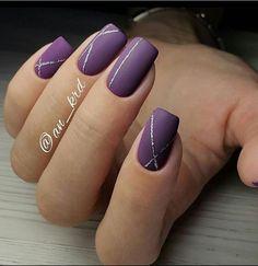Stripe84 Simple purple stripe nail art