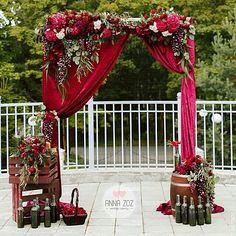 Wedding Arbors, Wedding Pics, Our Wedding, Wedding Flowers, Wedding Hall Decorations, Garland Wedding, Flower Decorations, Burgundy And Blush Wedding, Maroon Wedding