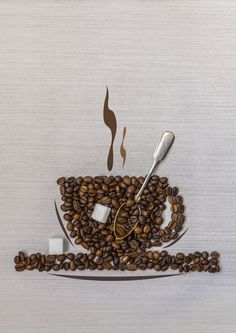 Coffee beans in a cup, spoon and sugar by Alexander Melnikov on 500px