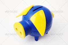 Buy Isolated Pig Bank by on PhotoDune. Isolated Blue Pig Bang with Yellow Ears and Nose Pig Bank, Stock Photos, Products, Gadget