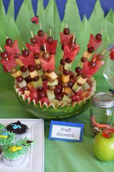Fruit skewer with butterflies