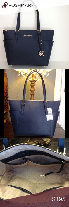 """🌹FINAL PRICE🌹MICHAEL KORS  Jet Set Navy Bag Tote 100% Authentic and brand new Michael Kors Jet Set Tote, Navy Blue colo Exterior Leather MSRP Value of $248.00 Double handles with 7-1/2"""" drop Top zip closure 4 Gold Metal foot stands for extra protection and stability Exterior features 18k gold-plated hardware, signature lettering, hanging logo medallion and two side pockets Interior features 16"""" W x 11-1/2"""" H x 5-1/2"""" D 30F2GTTT8L Imported Non smoking environment.  🌹PRICE REDUCED AND…"""