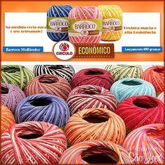 Lançamento Barroco 100 gramas. Ideal para detalhes e pequenas peças.  Já disponível no www.armarinhosaojose.com.br #artesanato #croche #barroco #barbante #circuloprodutos #lovecroche #crocheteira #crochebrasil #saojosearmarinho #decoracao