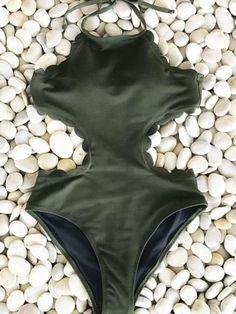 #AdoreWe #CupShe Bikini - CUPSHE Cupshe Admire You Halter One-piece Swimsuit - AdoreWe.com #onepieceswimsuit