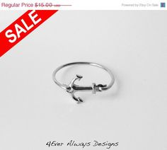 ON SALE Anchor Ring - Silver Sideways Anchor Ring on Etsy, $13.50