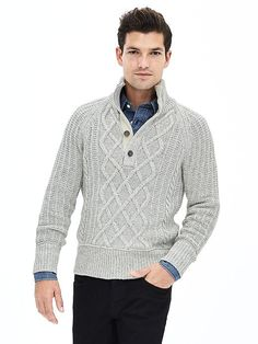 Mixed-Knit Button-Placket Pullover