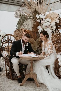This beautiful couple, Jen & Nick ✨🙌🏼 . We created this dried palm & floral backdrop as the wet-weather signing area which was later… Wedding Themes, Wedding Designs, Wedding Styles, Wedding Decorations, Boho Wedding, Wedding Ceremony, Wedding Flowers, Wedding Day, Wedding Blog