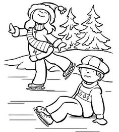 Printable Winter Coloring Pages: Younger Ice-Skaters (via Parents.com)