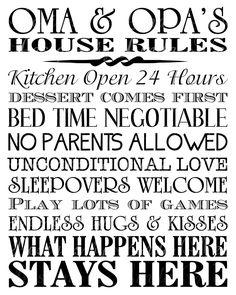 Printable Oma and Opa's House Rules -Subway Art Wall Printable- You choose one size - 4x6, 5x5, 5x7, 8x8, 8x10, 10x13, 11x14, 12x12, 16x20. $8.00, via Etsy.