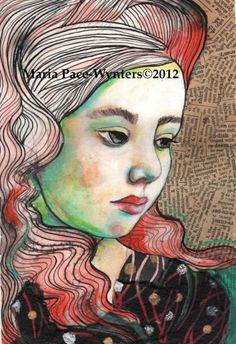 To Think Of You - mixed media by ©Maria Pace-Wynters (via DailyPainters)