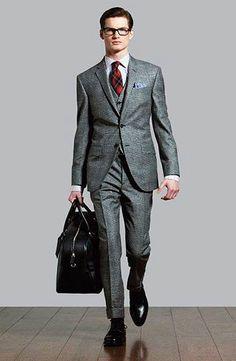 グレースーツ×チェックネクタイの着こなし | スーツスタイルWEB