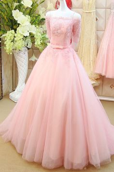 Elegant Long Pink Prom Dresses Sexy Boat Neck Half Sleeve Evening Dresses 2016 Real Photo Women Party Dresses Formal Gowns