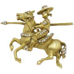 Rare  HATTIE CARNEGIE Don Quixote Figural Rhinestone Brooch Pin