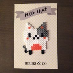 Pearler bead art Cat magnet by MamaAndCo on Etsy