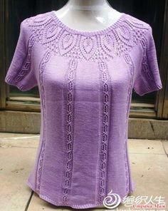 swetlana-l - Дневник swetlana-l Hand Knitted Sweaters, Knitted Hats, Lace Knitting, Knitting Needles, Crochet Fashion, Top Pattern, Knitting Patterns, Short Sleeve Dresses, Tunic Tops