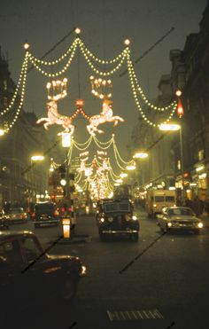 Oxford Street in London, Christmas 1962 Vintage Christmas