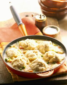 These drop dumplings are fluffy and biscuit-like in texture, perfect to add to your stew or chicken. The biscuit mix makes them easy to make. Recipe For Drop Dumplings, Dumplings For Soup, Dumpling Recipe, Chicken And Dumplings, Chicken Potpie, Vegan Dumplings, Chicken Soup, Biscuit Mix