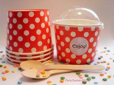 For Katie's ice cream bar! https://www.etsy.com/listing/158531019/25-red-polka-dot-ice-cream-cups-large