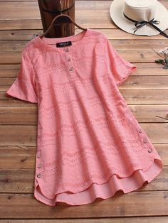 Women US 10 Pink Vintage Casual Eyelet Tunic Blouse Button Neck Plate Top Shirt Short Sleeve Blouse, Short Sleeve Dresses, Chemise Fashion, Vestidos Vintage, Vintage Shorts, Blouse Vintage, Summer Shirts, Lace Tops, Blouses For Women