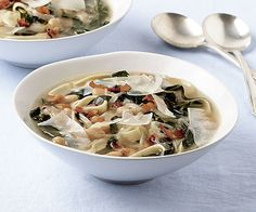 Noodle Soup with White Beans and Collards by Fine Cooking