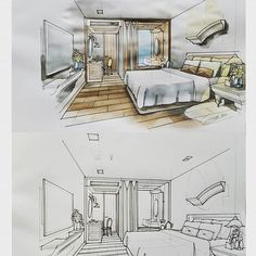 Online Home Decorating Software Interior Architecture Drawing, Architecture Drawing Sketchbooks, Interior Design Renderings, Drawing Interior, Interior Rendering, Interior Sketch, One Point Perspective Room, Perspective Drawing, Boutique Interior