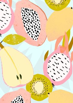 Tom Abbiss Smith, pattern, design, fruit, colour, summer, pear, colour